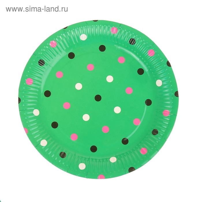 """Набор бумажных тарелок """"Горох"""" зеленый цвет, (6 шт), 23 см"""