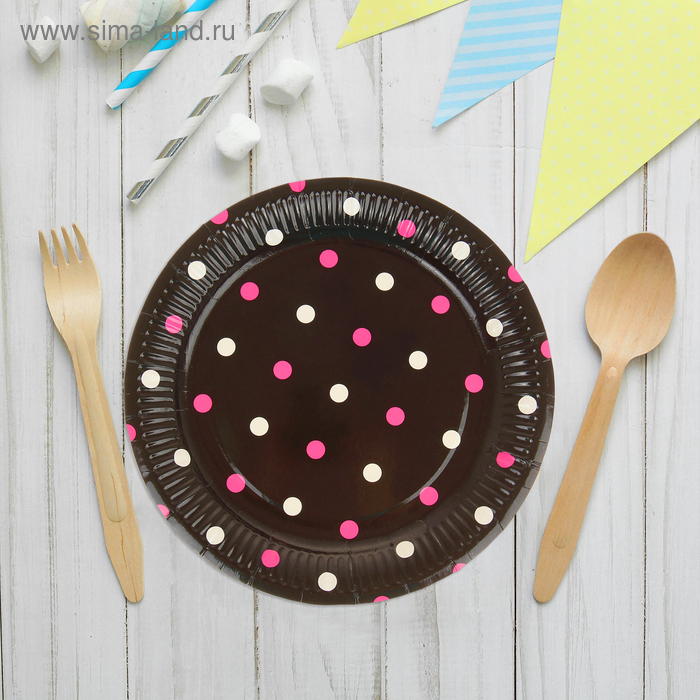 """Набор бумажных тарелок """"Горох"""" черный цвет, (6 шт), 23 см"""