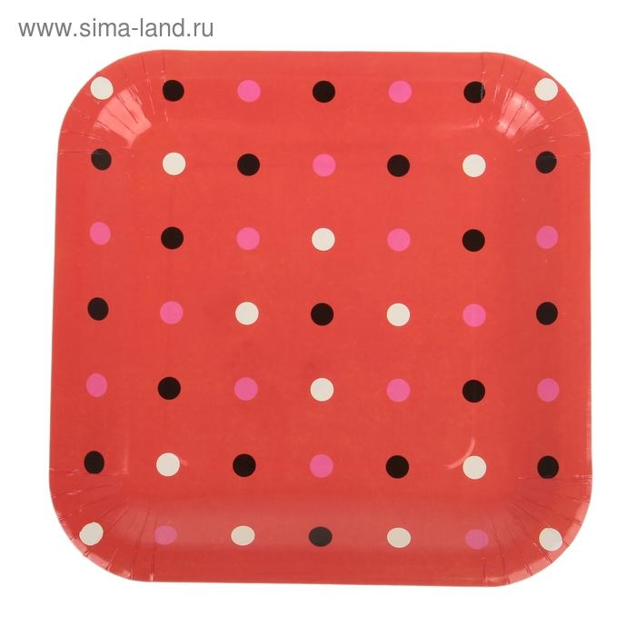 """Набор бумажных тарелок """"Цветной горох"""" красный цвет, (6 шт), 23 см"""