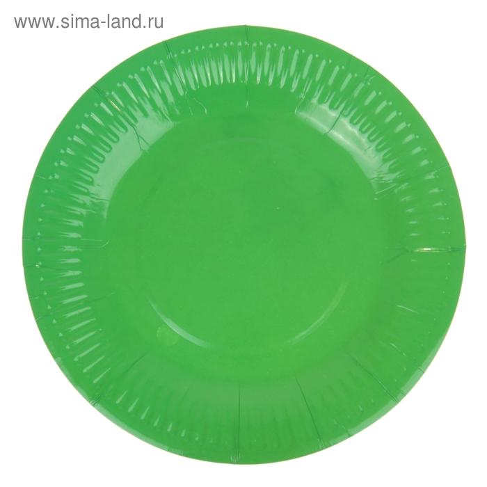 Набор бумажных тарелок, зеленый цвет, (6 шт), 18 см