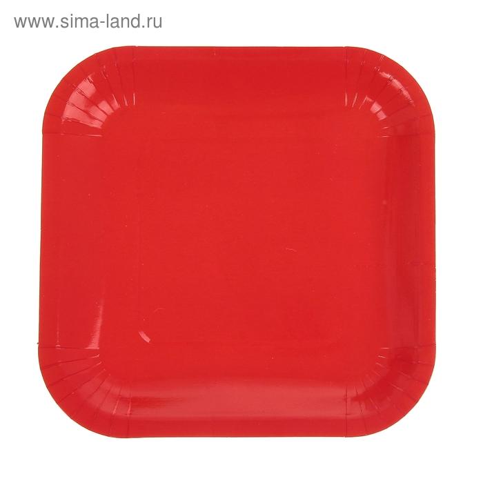 Набор бумажных тарелок, красно-оранжевый цвет, (6 шт), 18 см
