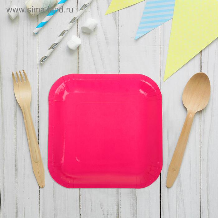 Набор бумажных тарелок, малиновый цвет, (6 шт), 18 см