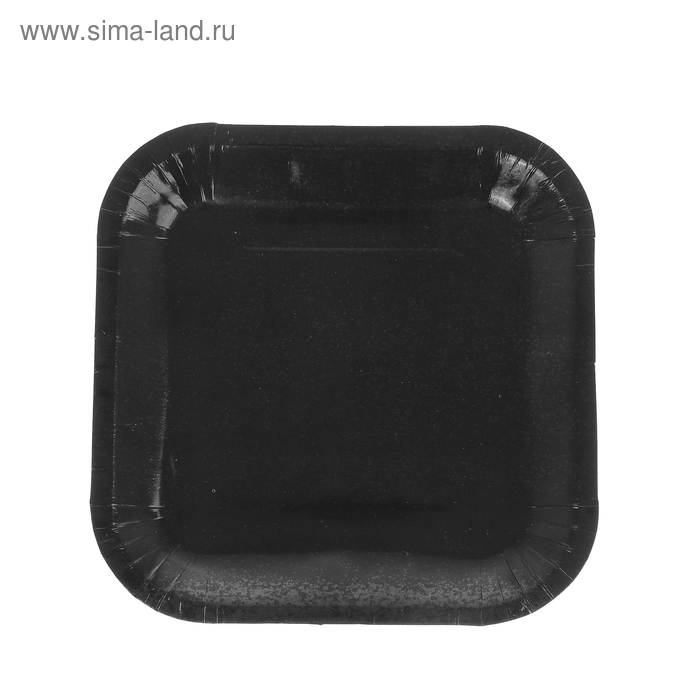 Набор бумажных тарелок, черный цвет, (6 шт), 18 см