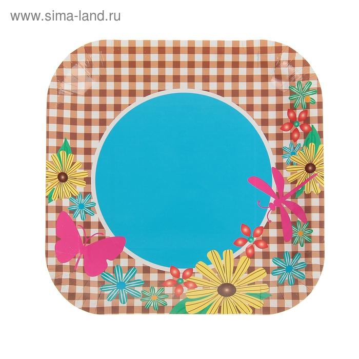 """Набор бумажных тарелок """"Цветы"""" (6 шт), 18 см"""