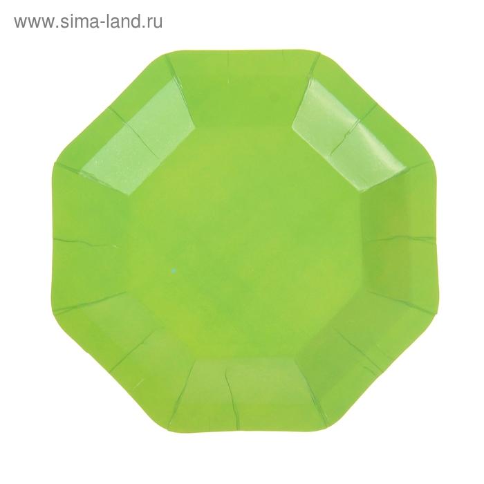 Набор бумажных тарелок, зеленый цвет (6 шт), 18 см