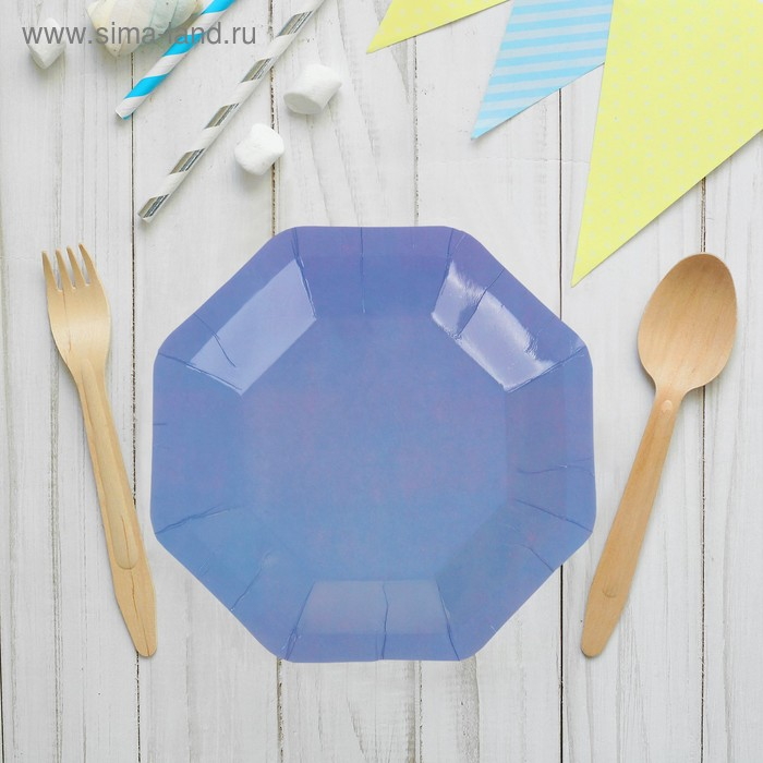 Набор бумажных тарелок, синий цвет, (6 шт), 18 см