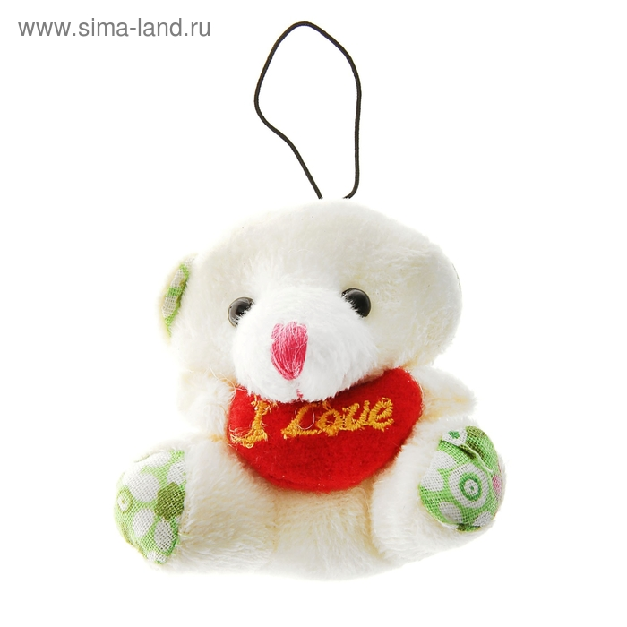 """Мягкая игрушка-подвеска """"Мишка с сердцем"""", цветные вставки"""