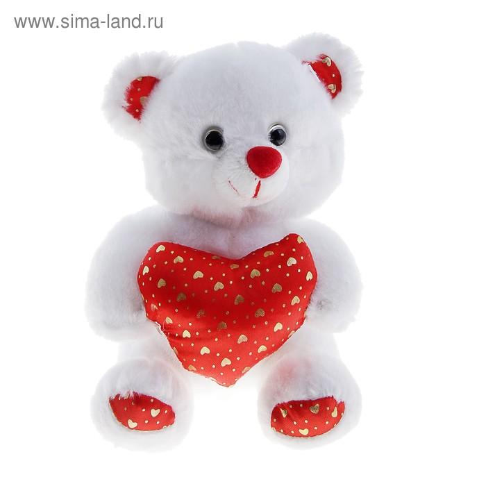 """Мягкая игрушка """"Мишка белый"""", на сердце маленькие сердечки, 15 см"""