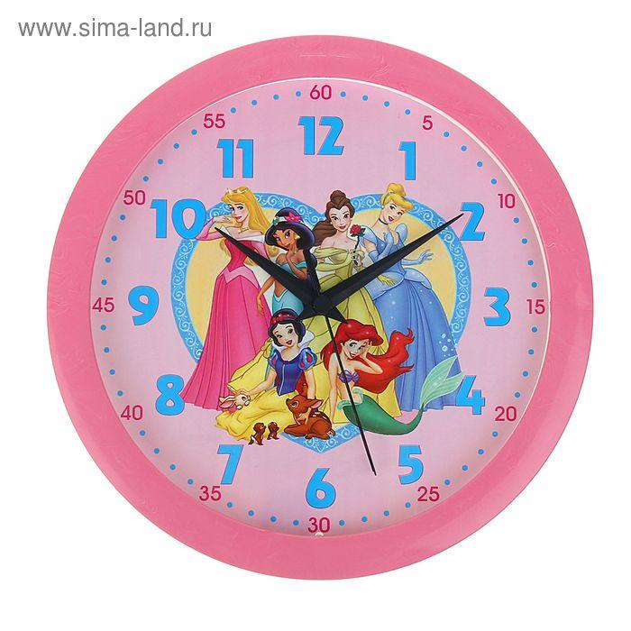 """Часы настенные круглые """"Принцессы"""", розовый обод, детские, 28х28 см, микс"""