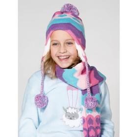 """Комплект утеплённый для девочки """"Сердечки"""" (шапка, шарф), р-р 50, цв.розовый/фиолетовый"""