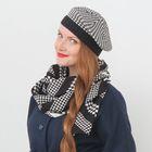 """Набор женский демисезонный """"Гретта"""" (берет, шарф), размер 54-56, цвет чёрный/белый"""
