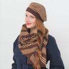 """Набор женский демисезонный """"Гретта"""" (берет, шарф), размер 54-56, цвет коричневый/бежевый"""