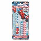 Свечи с музыкальной подставкой, Человек-паук, синяя, 7.5 х 20 см