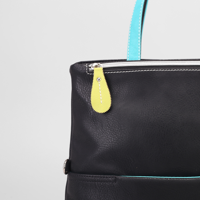 Сумка жен В2560, 33*9*36, отд на молнии с магнитом, н/карман, черн/бирюза/желт