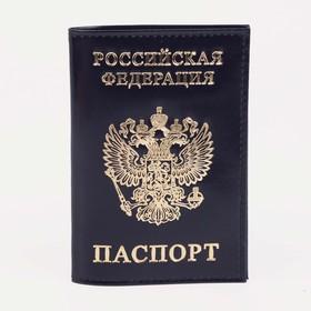 Обложка для паспорта, тиснение фольга, герб, гладкий, цвет синий