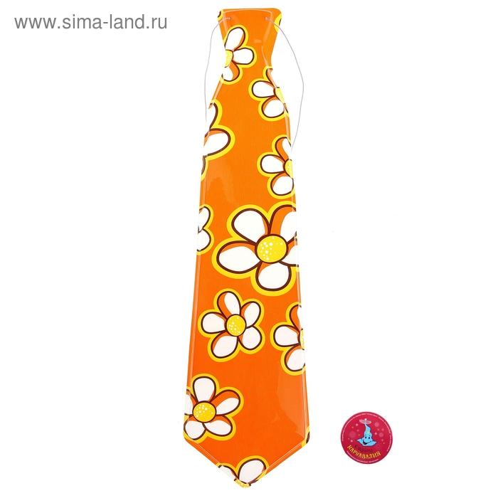 """Карнавальный галстук """"Лето"""", большие цветы, набор 6 шт."""
