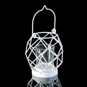 """Подсвечник металл 1 свеча """"Лофт"""" белый 12х11х11 см"""
