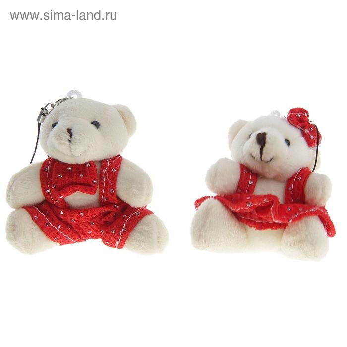 """Мягкая игрушка-подвеска """"Мишка в штанишках"""" с бабочкой, цвета МИКС"""