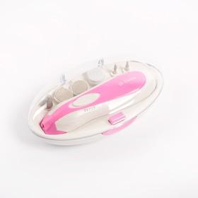 Маникюрный набор DELTA DL-0750, 3 Вт, 2 скорости, 6 насадок, розовый Ош