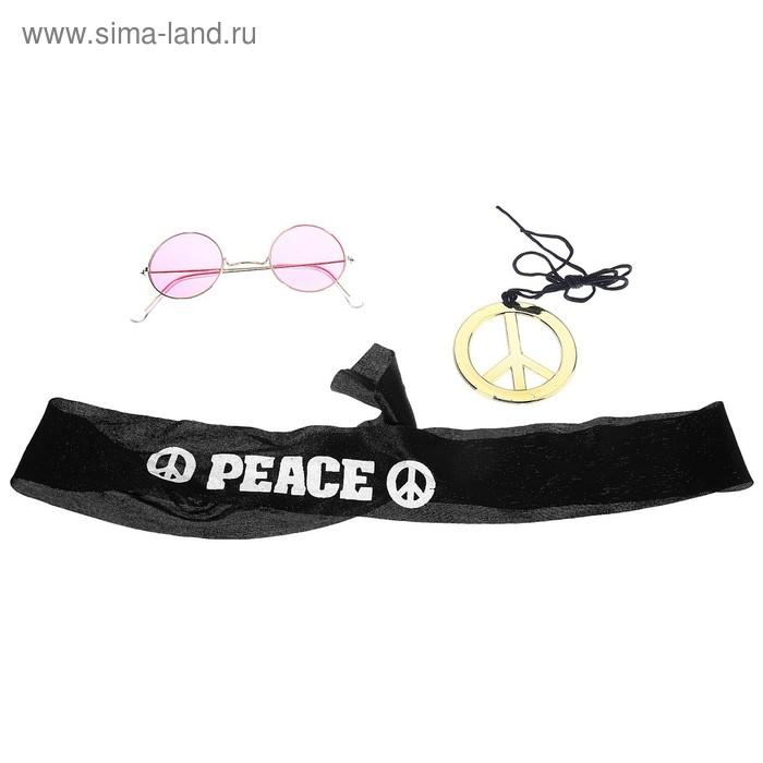 """Карнавальный набор """"Хиппи"""", 3 предмета: очки, подвес, повязка"""