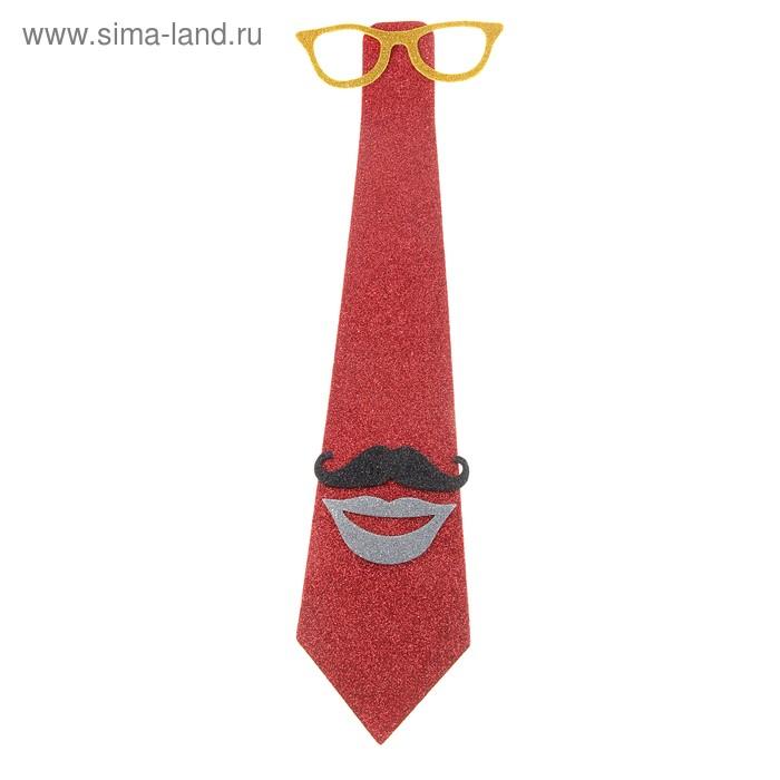 """Карнавальный галстук """"Очки, усы, губы"""", цвет красный"""
