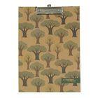 Папка-планшет с зажимом А4, одинарная, Крафт Деревья