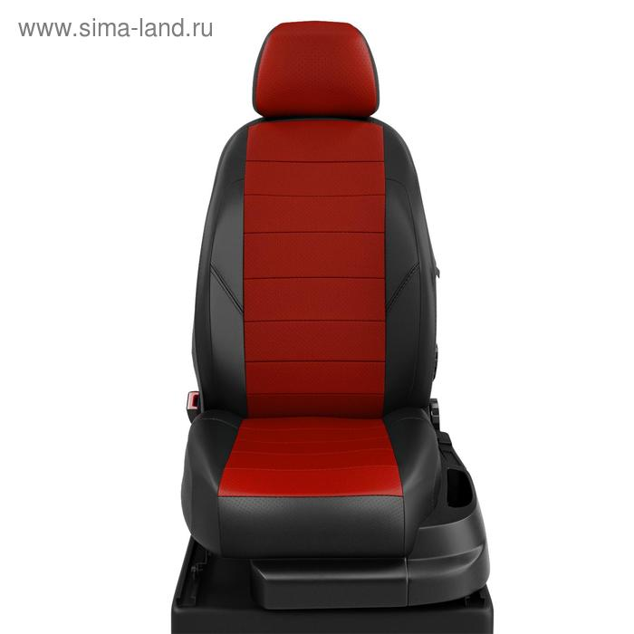Авточехлы для Audi A3 8V с 2013-н.в. седан, хэтчбек 4-5 деверей Задние спинка 40 на 60, сиденье единое, 5 подголовников, перед подлокотник, БЕЗ заднего подлокотника, экокожа, красно-чёрная