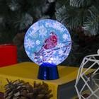 """Подставка с динамикой """"Снегирь"""" (батарейки в комплекте), 11,5 см, 2 LED, БЕЛЫЙ"""