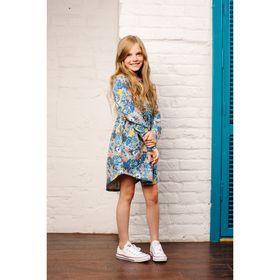 Платье для девочки, рост 140 см, принт голубой 151-329-37