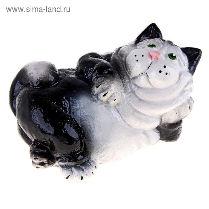 """Копилка """"Лежащий кот"""" чёрная"""
