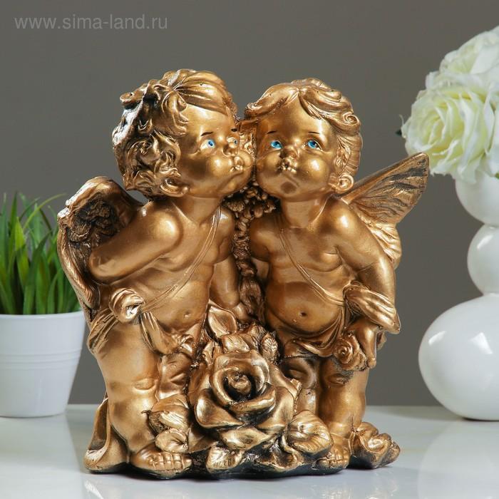 """Статуэтка """"Ангел и Фея с розой"""" золото"""
