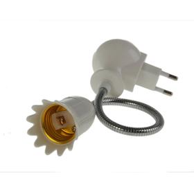 Переходник вилка-патрон E27 гибкий 200 мм c выключателем, белый