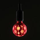 """Лампа светодиодная декоративная """"Снежинки"""" G80, красная, 1,4 Вт, 220 В, ТЕПЛО-БЕЛЫЙ"""
