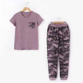 Комплект женский (футболка, брюки) Камуфляж №2 цвет розовый, р-р 42