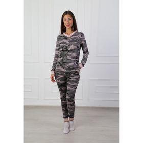 Комплект женский (джемпер, брюки) Камуфляж №1 цвет серый, р-р 42