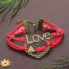 """Браслет """"Магия знаков"""" сердце плетёное, цвет красный"""