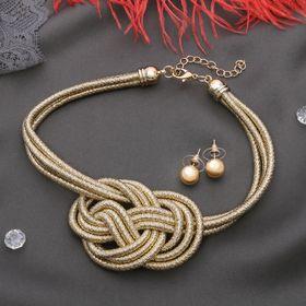 Набор 2 предмета: серьги, чокер 'Анабель' узел, цвет золото Ош