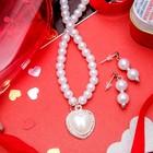 """Набор 2 предмета: серьги, колье """"Ванесса"""" сердце, цвет белый в серебре"""