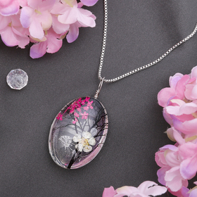 """Кулон из стекла """"Венеция"""" дерево в овале, цветной в серебре"""