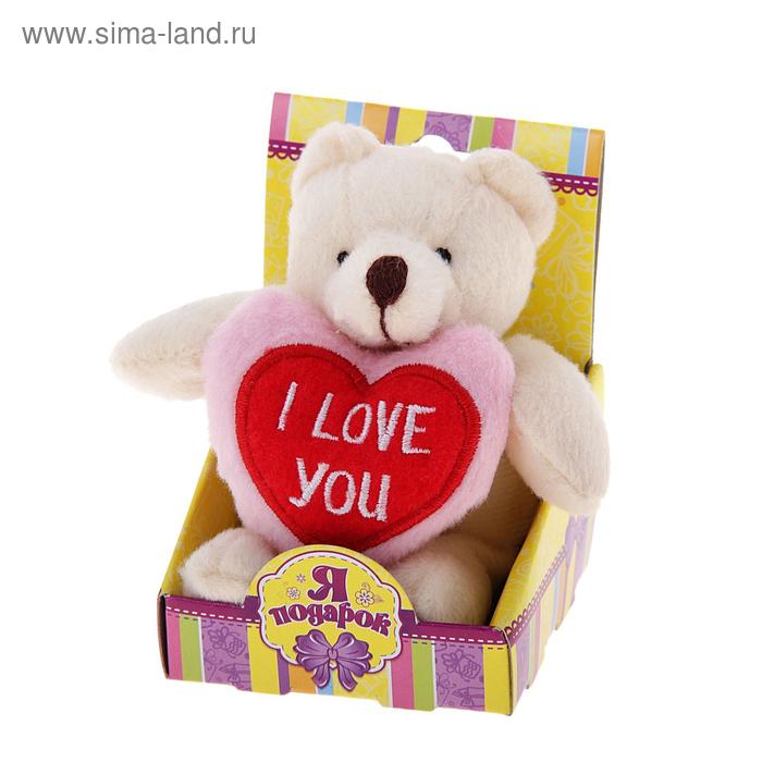 """Мягкая игрушка """"Мишка с сердечком"""" в коробочке"""