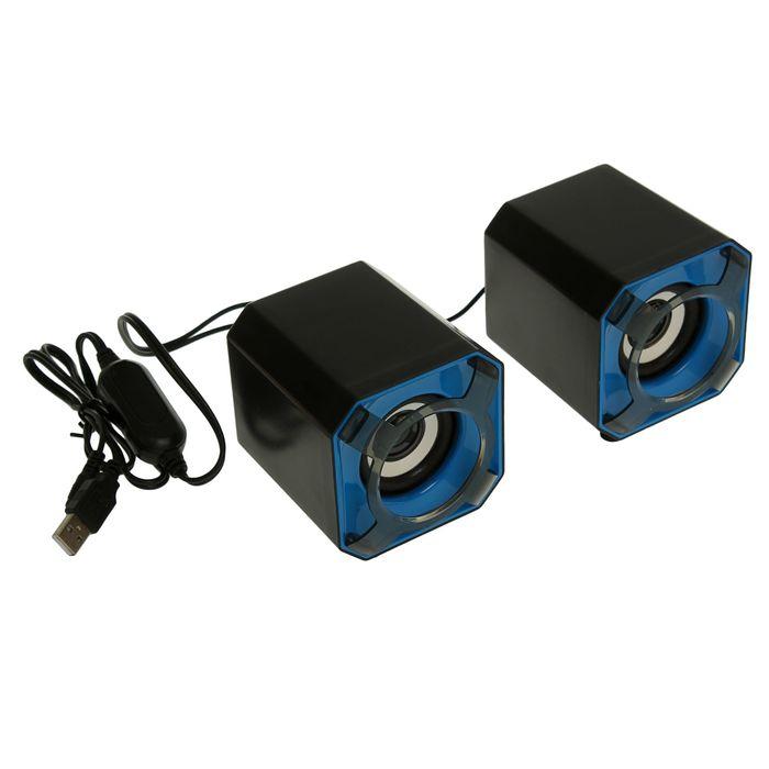 Колонки М8, провод 0,9 м, Jack3,5 и USB, регулятор громкости, синие