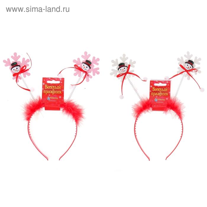 """Карнавальный ободок """"Снеговик на снежинке"""", цвета МИКС"""