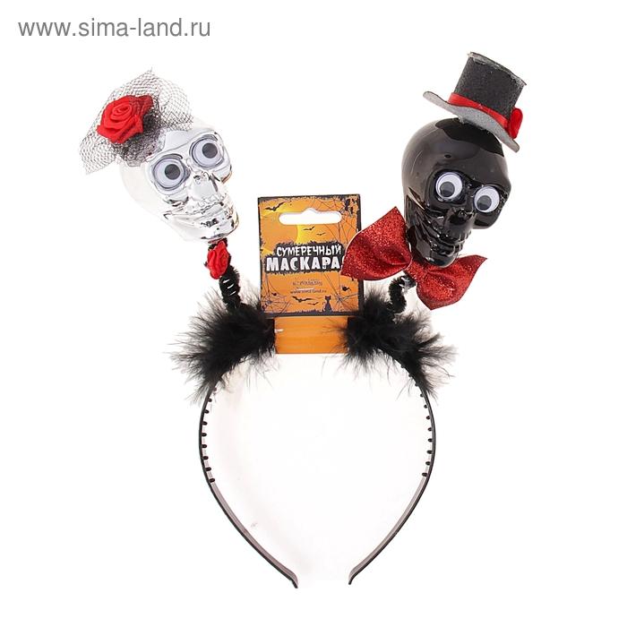 """Карнавальный ободок"""" Череп с бантиком шляпке"""""""