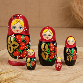Матрёшка «Аврора», платок с ягодами, 5 кукол, бордовая