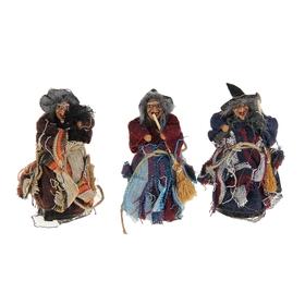 Баба - Яга бант сеточка с метлой цвета МИКС