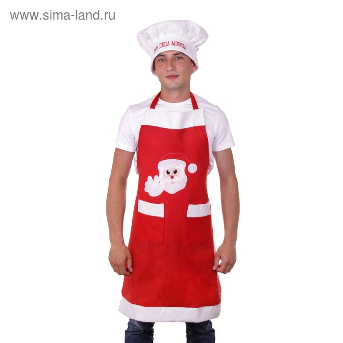 """Карнавальный набор повар """"Зам деда мороза"""" 2 предмета: шапка, фартук"""