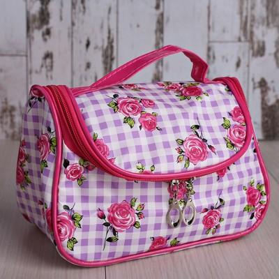 Косметичка-сумочка Розы 20*10*12см, отдел на молнии, с зеркалом, фиолетовый