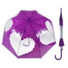"""Зонт-трость механический """"Розы"""", R=42, цвет фиолетовый"""