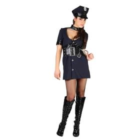 """Карнавальный костюм """"Полицейская"""", 3 пр: пояс, головной убор, платье с колье, р-р M-L 44-48"""