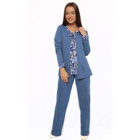 Комплект женский (топ, брюки, халат) М97 цвет синий, р-р 44